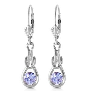 GOLD LEVER BACK EARRINGS WITH NATURAL TANZANITES